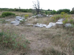 Foundations of old barn that was burned down.