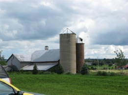 Silos at old barn and house near Super-Walmart on Route 11