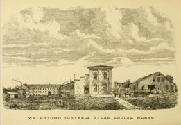 Old drawing of Watertown Steam Engine Company